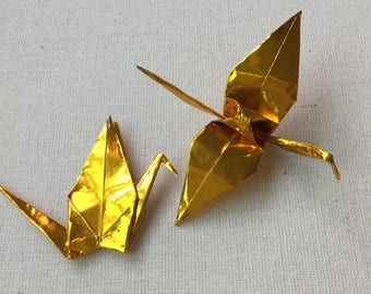 50 Gold Origami Cranes, Shiny Metallic Gold Foil, Folded Paper Cranes, Good Luck
