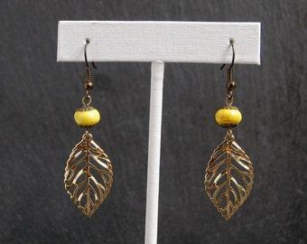 Gold Leaf Earrings, Gold Leaf Autumn Earrings
