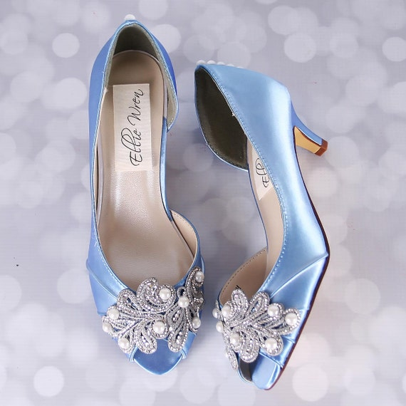 Blue wedding shoes cornflower blue peep toe wedding shoe blue wedding shoes cornflower blue peep toe wedding shoe with hand made rhinestone and pearl applique junglespirit Image collections