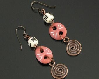 Tribal Terracotta Earrings, Rustic Spiral Dangle Earrings, Unique Gift for Women, Primitive Niobium Earrings, Earthy Copper Tribal Earrings