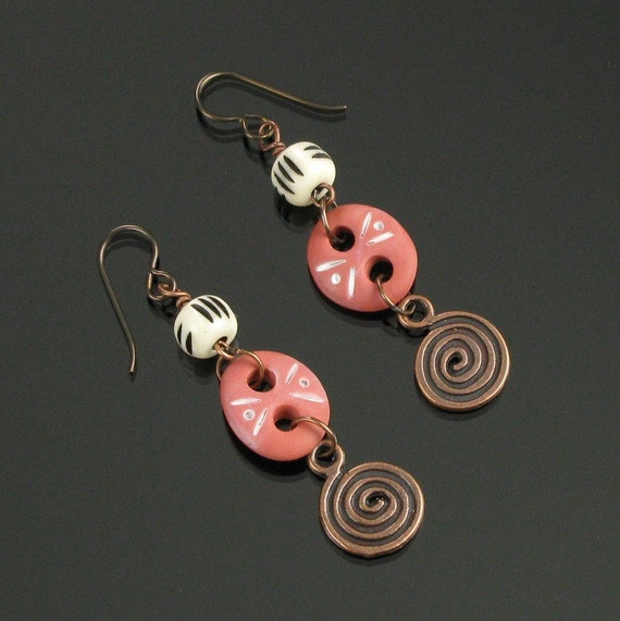 Tribal Terracotta Earrings, Rustic Spiral Dangle Earrings, Unique Gift for Women, Primitive Niobium Earrings, Earthy Copper Tribal Earrings