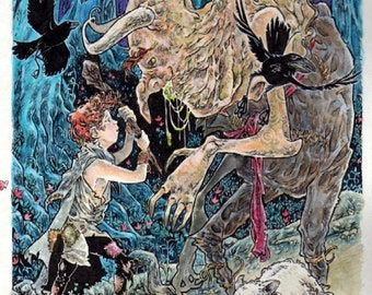 Peter Patches Rescues His Flock From The Wicked 8 X 10 Art Fantasy Drawing Illustration Canvas Print