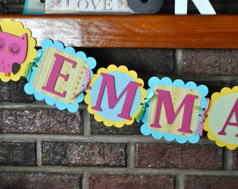 Cute Owl Name Birthday Banner