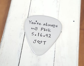 Personalized guitar pick custom 22 gauge stainless steel gift for him or her anniversary gift wedding gift personalized  jewelry