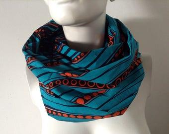 Snood homme mixte foulard, écharpe double cotoon wax africain émeraude et orange
