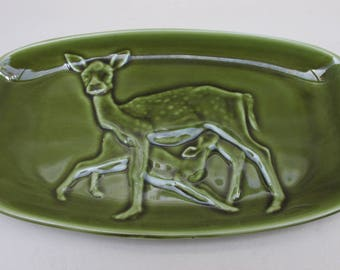 Vintage Poole Pottery Forest Green Deer Ceramic Trinket Dish/Tray