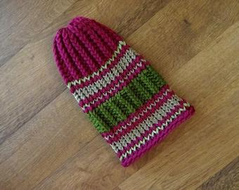 Hand Knit Women's Hat w/ Ribbing & Stripe Interest