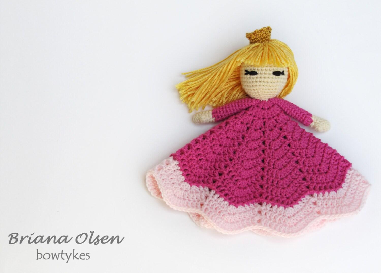 Pretty Princess Lovey CROCHET PATTERN instant download - blankey, blankie, security blanket