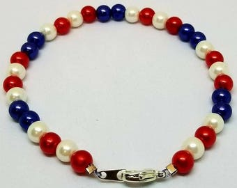 Red White And Blue Bracelet - USA Bracelet - 4th of July Bracelet - 4th of July Jewelry - Patriotic Jewelry - Patriotic Bracelet - USA
