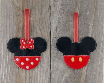 Disney Mickey and Minnie inspired Vinyl Christmas ornaments, stocking stuffer, gift for a friend, gift for mom, gift for coworker, under 15