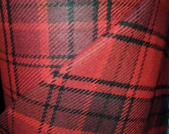 Scottish red black tartan pure wool fabric material for coats