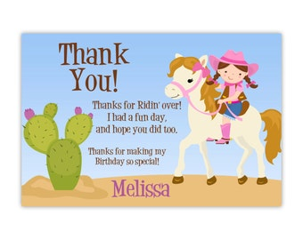 Cowgirl Thank You Card - Adorable Pink Girl Cowgirl, Horse Desert Cactus Personalized Birthday Party Thank You - a Digital Printable File