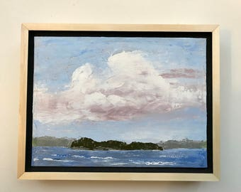 Cloudy Sky over French Lake, Quetico Park, Ontario landscape oil painting Canadian Shield