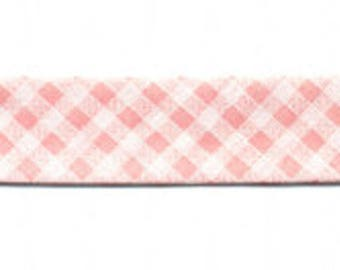 Bias gingham pink 100% cotton by the yard