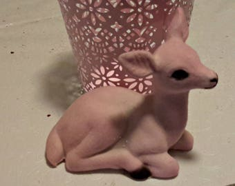PINK FLOCKED REINDEER 3 1/2 in vintage deer sitting vintage decoration