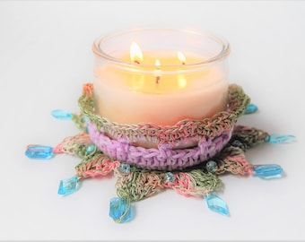 OOAK / Candle holder / centerpiece / Blue / Lavender / Green / beaded / 3 wick / handmade / large / cotton / Gift idea / the dusty hovel