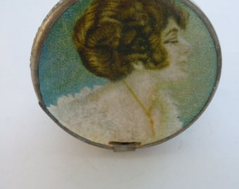 Vintage Edwardian Lady Portrait Small Round Folding Mirror Germany