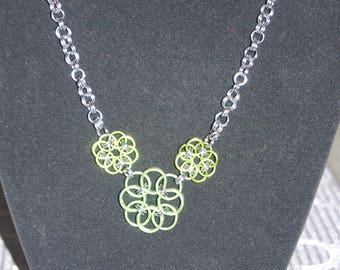 Triple Helm circle necklace in lime green and gunmetal