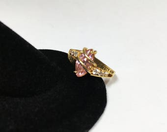 Vintage Class of 1998 Liberty High School Ring Pink Clear Crystals Gold Plate Setting Birthstone Tourmaline Color Jewelry Reuse Recycle