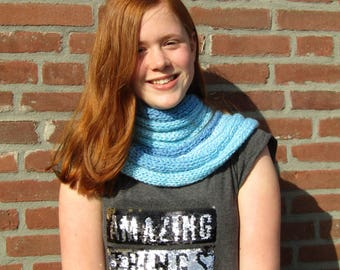 An unusual blue infinity scarf. Unique knitted scarf. Gift for women. Gift for men. Unusual cowl. Boho scarf. Knit scarf. Mens knit cowl