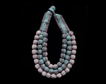 SILVINA - Triple Necklace  - Oaxacan Textiles - Grey / Turquoise