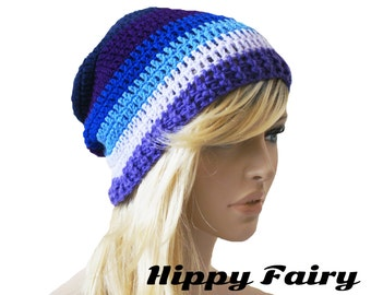 Crochet hat, womans Blue Beanie , purple beaine,Slouchy beanie, Womans slouch beanie, Slouchy hat
