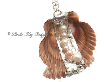 Shell & Freshwater Pearl Necklace Wearable Ocean Necklace Soldered Seashell Necklace Lorelie Kay Designs