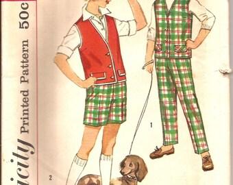 Rare Girls Pants Shorts Sleeveless Jacket 60s Vintage Sewing Pattern / Simplicity 3059 / Girl Size 7 / UNCUT