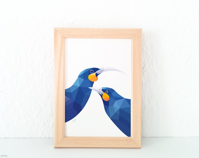 Huia pair print, Huia bird art, Kiwi, Extinct bird, Kiwi art, New Zealand birds, New Zealand artist, Geometric print, Flora and fauna art,