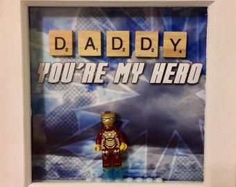 Iron Man Lego Minifigure Frame Marvel 6 x 6 inch
