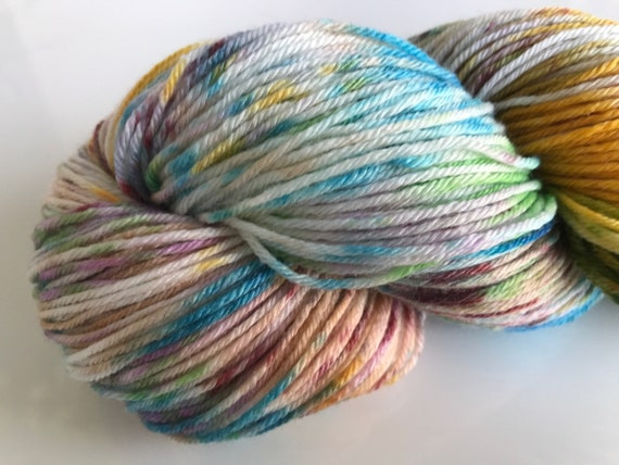 Hand dyed super wash Merino and bamboo sock yarn 'Clownbarf'