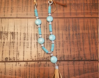 Turquoise and deerskin leather long necklace with leather tassel