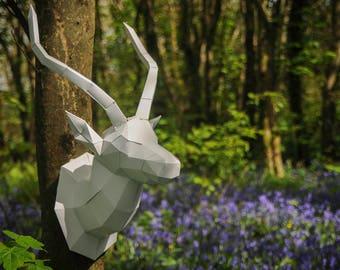 Gazelle/Antelope Papercraft trophy template, Instant Digital Download