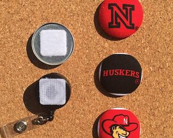Nebraska Huskers Button Badge Reel