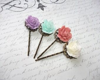 Flower hair pin set (4) in antique bronze
