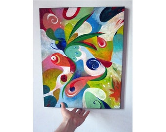 """Abstract painting """"pond"""" modern painting on canvas, zen Art, home decor"""