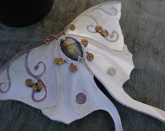 Fantasy Luna Moth Hair Barrette with Labradorite, one of a kind