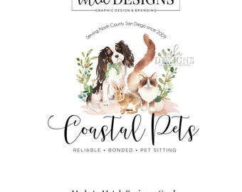 Dog Sitter Logo, Animal Sitter Logo, Ragdoll Logo, Cavalier Logo, Pet Boutique, Animal Store Branding, Puppy Logo, Watercolor Logo