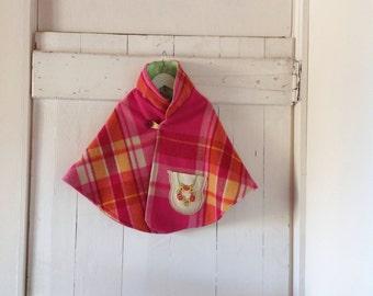 Children's Girls Bubblegum Pink Woollen Cape.Size 5 to 8.SALE