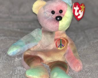 Ty Original Peace Beanie Baby with errors, Style 4053, PVC Pellets, No red stamp in tush tag. KR (Korean) next to 1965.