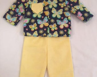 Navy Butterfly Print Flannel Pajamas with Yellow pajama pants
