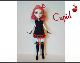 Monster High Doll Clothes CUPID- Goth Red & Black Dress + Stockings Handmade Fashion - by dolls4emma
