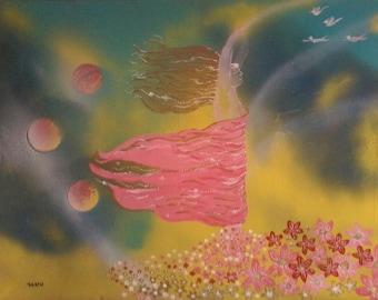Original art mixed media acrylic painting dream vision Anima