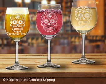 Mexican Sugar Skull 20oz Goblet Beer Wine Glass w/ Custom Text (6+Styles)