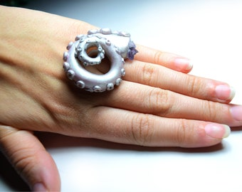 Octopus Tentacle Ring, Tentacle Ring, Silver Octopus Ring, Steampunk ring, Steampunk tentacle, Tentacle Jewelry, Cephalopod, Octopus Ring