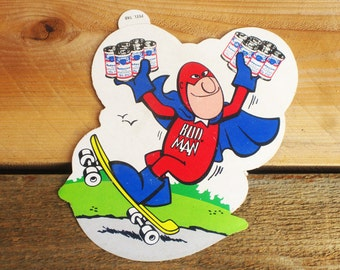 Vintage 70s Bud Man Budweiser Skateboard Sticker  -Rare-