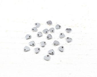 5 heart charm stainless steel / stainless steel 6 x 5 x 0.9 mm