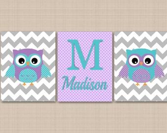 Owl Nursery Wall Art,Owl Wall Art,Lavender Teal Nursery Wall Art,Gray Chevron Nursery Art,Owl Nursery Decor,Owl Baby Gift-UNFRAMED  3 C210