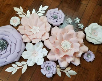 Purple and pink paper flower set