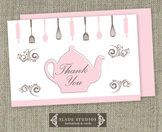 Kitchen tea bridal tea party thank you cards printable stopboris Image collections